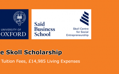 Skoll Scholarship 2020 for MBA at the University of Oxford, UK